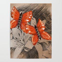 Butterflies and Lillies Poster