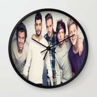 one direction Wall Clocks featuring One direction by kikabarros