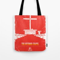 outdoor Tote Bags featuring The Outdoor Chapel - Home At Last by Home At Last - Rainbow Trail Lutheran Ca