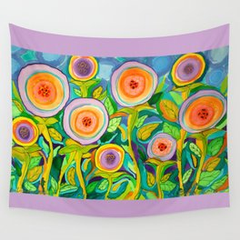 Peach Peonies in the Garden Wall Tapestry