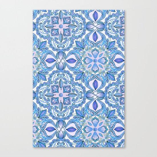 Cornflower Blue, Lilac & White Floral Pattern Canvas Print
