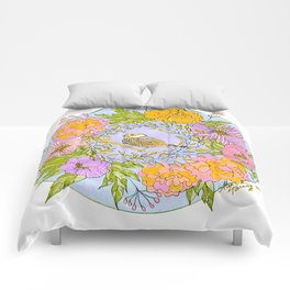 Spring Chickadee in Flowery Woodland Wreath Comforters