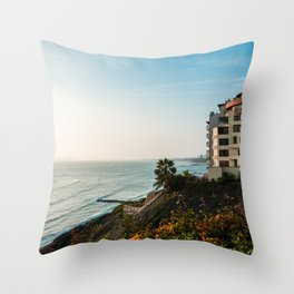 Seaside View | Landscape Photography of Lima Peru Sea Coast during Sunset Throw Pillow