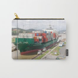 A cargo ship crossing the Miraflores locks at the Panama Canal Carry-All Pouch