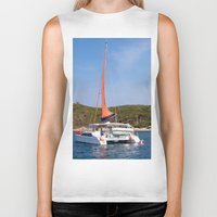 sailboat Biker Tanks featuring sailboat by nguyenkhacthanh