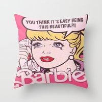 barbie Throw Pillows featuring Barbie by LuxuryLivingNYC