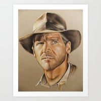 indiana jones Art Prints featuring Indiana Jones by Ashley Anderson