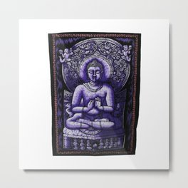 Buddha Meditation Purple Batik Wall Hanging Tapestry Metal Print