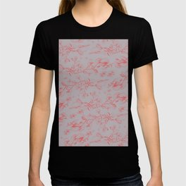 Red & Grey pohutukawa pattern T-shirt