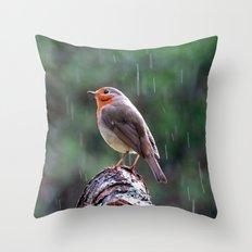 Robin in the rain Throw Pillow