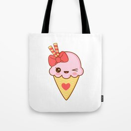 Kawaii Strawberry Ice Cream Cone Tote Bag