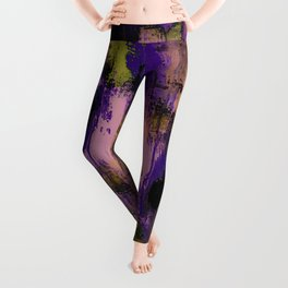 Abstract Nature - Textured, blue, yellow, pink, lilac, purple, black and orange painting Leggings