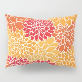 Shades of Orange Flower Pattern - Floral Art Pillow Sham
