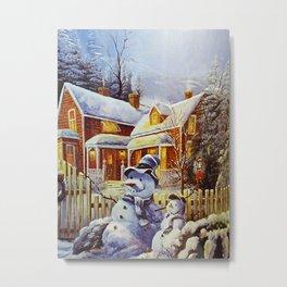 Father & Son Snowman Metal Print