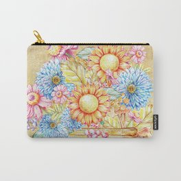 October  Floral Basket Watercolor Carry-All Pouch