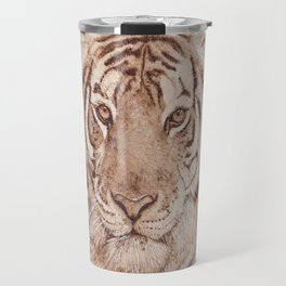 Bengal Tiger Portrait - Drawing by Burning on Wood - Pyrography art Travel Mug