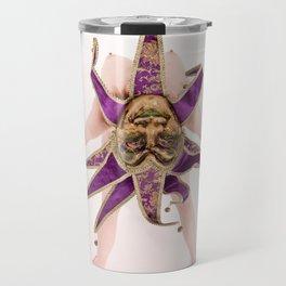 1434s-MM High Key Art Nude in Jester Mask Bending over Backwards Travel Mug