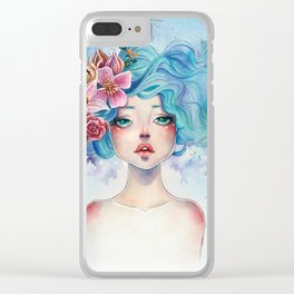 Blue Hair Clear iPhone Case