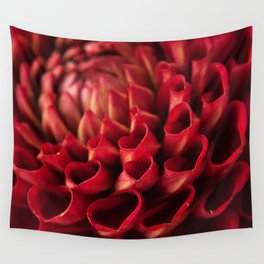 Red Dahlia Photography Print Wall Tapestry