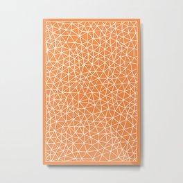 Connectivity - White on Orange Metal Print
