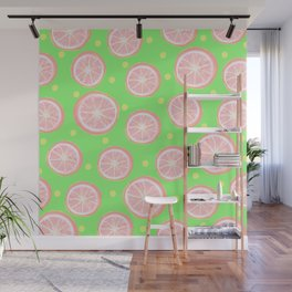 Pink Grapefruit and Dots - Green Wall Mural
