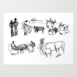 At the Bull Fight , SPAIN          by Kay Lipton Art Print