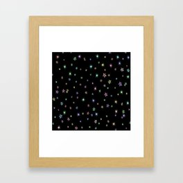 Colored Sparkling Stars Framed Art Print