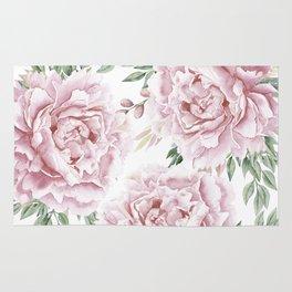 Girly Pastel Pink Roses Garden Rug