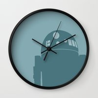 r2d2 Wall Clocks featuring R2D2 by olive hue designs