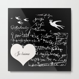 I love you, Je t'aime Metal Print