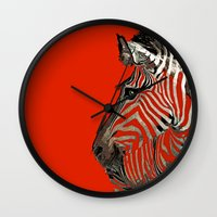 zebra Wall Clocks featuring Zebra  by Saundra Myles
