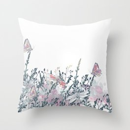 Elegant vector floral illustration with dragonfly, butterflies and flowers Throw Pillow
