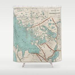 Vintage Map of Georgian Bay Shower Curtain