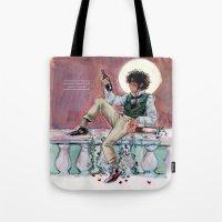 les mis Tote Bags featuring les miseràbles: lux in tenebris by Daniela Viçoso