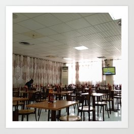 #282 A #woman is eating in the ugly #decor #airport #cafe near the aircon Art Print