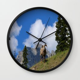 Ram Against Mountain Backdrop Wall Clock