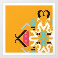 arabic Art Prints featuring Orange Arabic by Farah Saheb