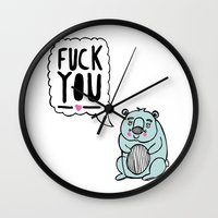 hamster Wall Clocks featuring Foul Hamster by jess moorhouse