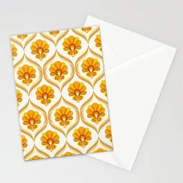 Ivory, Orange, Yellow and Brown Floral Retro Vintage Pattern Stationery Cards