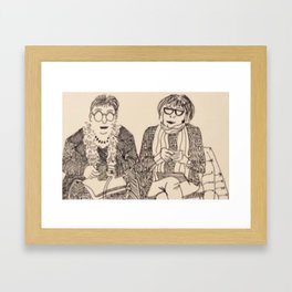 Two knitters Framed Art Print