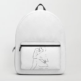 Woman Nude Minimal Drawing Backpack