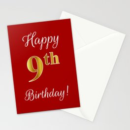 """Elegant """"Happy 9th Birthday!"""" With Faux/Imitation Gold-Inspired Color Pattern Number (on Red) Stationery Cards"""