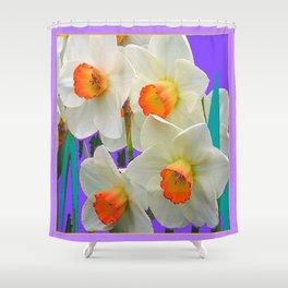 WHITE-GOLD NARCISSUS FLOWERS LAVENDER GARDEN Shower Curtain