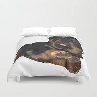 rottweiler Duvet Covers featuring Cute Rottweiler Puppy Vector by taiche