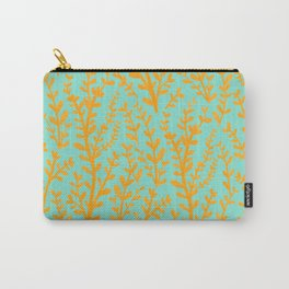 Mint Green and Yellow Leaves Gouache Pattern Carry-All Pouch