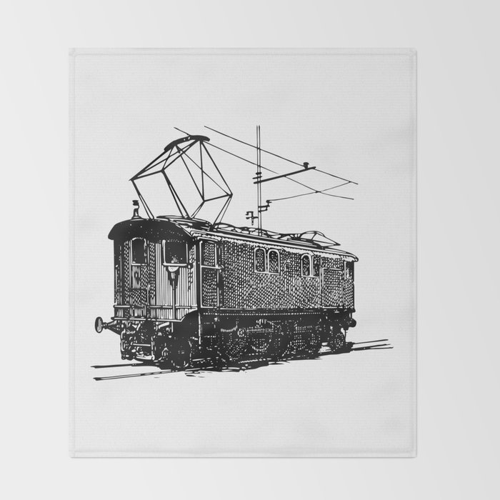 Old City Tram Carriage Detailed Illustration Throw Blanket