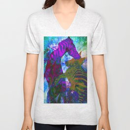 Zebra Fight  Unisex V-Neck