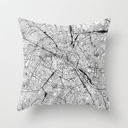 Paris White Map Throw Pillow