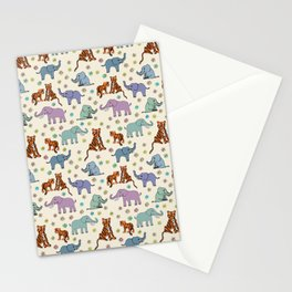 Daisies, Tigers and Elephants Stationery Cards