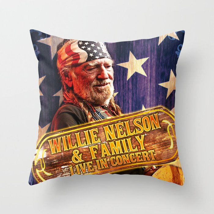 Willie Nelson 2020 Tour willie nelson family tour 2019 2020 hajarlah Throw Pillow by